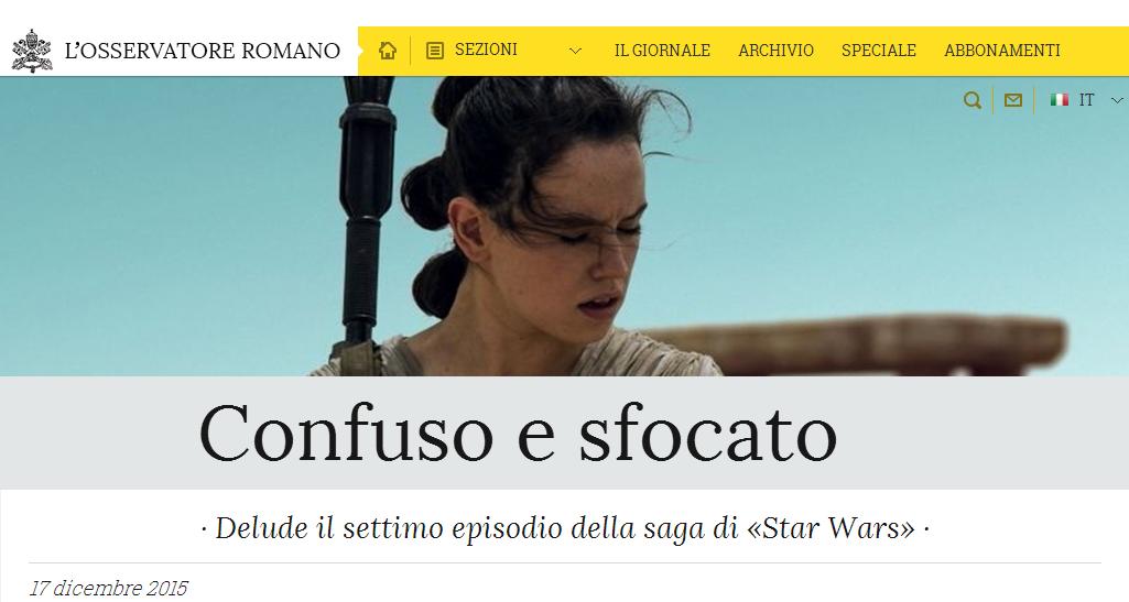 Osservatore romano Star Wars 7